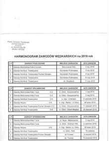 Harmonogram zawodów na rok 2019