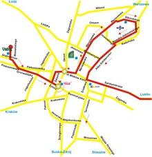 Trasa autobusu AMURA po m Kielce