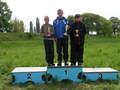 Oni wygrali sektor do 14 lat. Od lewej: Szymon Drzazga (Legnica), Damian Wielgus (Jelenia Góra), Tomasz Pietkiewicz (Wrocław).