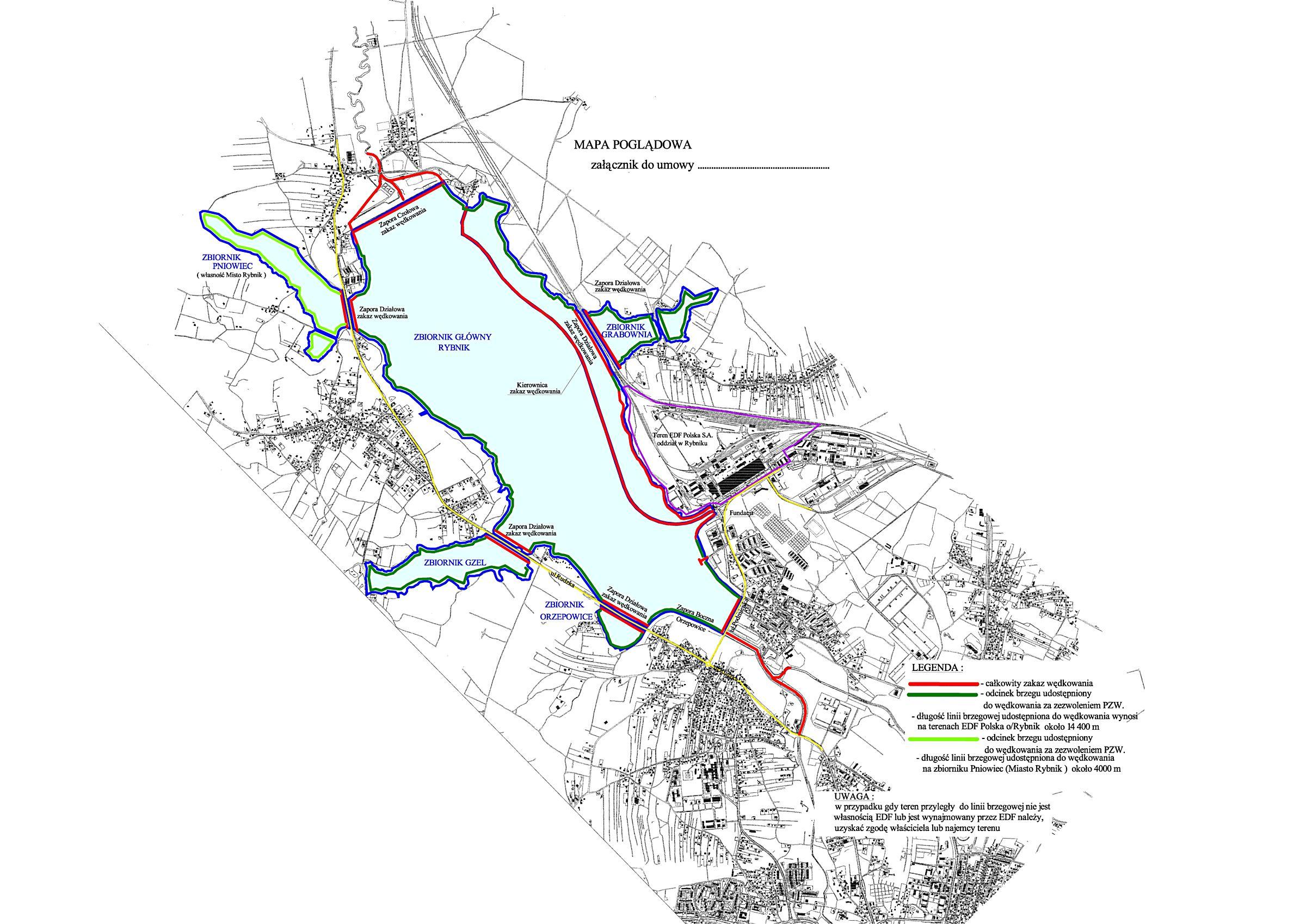 Powiększ Zbiornik Rybnik mapa poglądowa