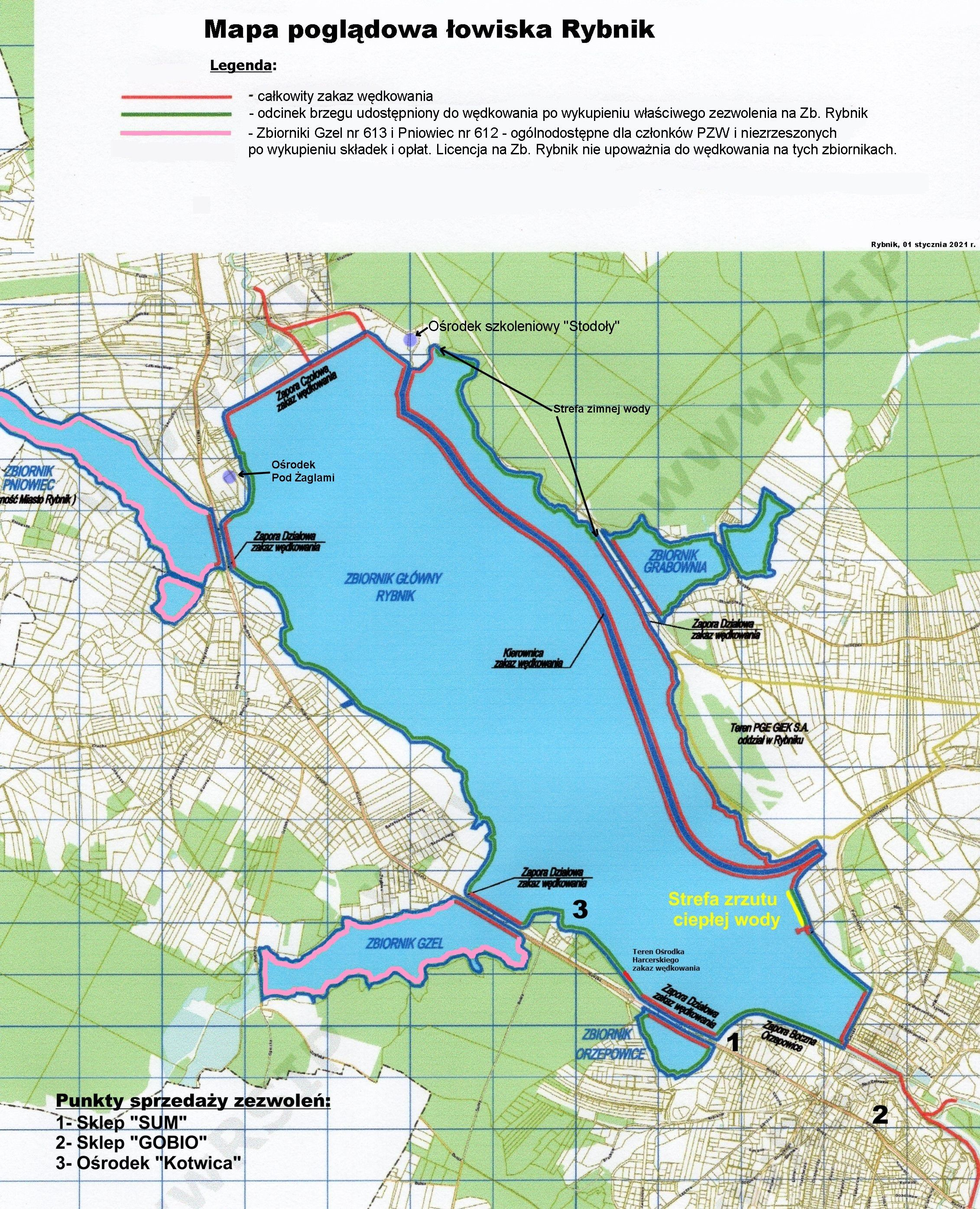 Powiększ Zbiornik Rybnik mapa podglądowa
