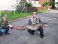 Sebastian Mazur i największa ryba zawodów - sum o wadze 31,3kg - w pełnej okazałości.