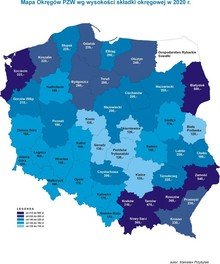 Mapa Okręgów PZW wg wysokości składki okręgowej