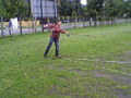 Jedna z trzech konkurencji trójboju spinningowego:rzut na odległość ciężarkiem 7,5 g.