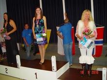 Magda Kuza  mistrzyni świata w odległości spinningowej na podium Obok Niemka Verena Opitz i Norweżka Bente Skyrud